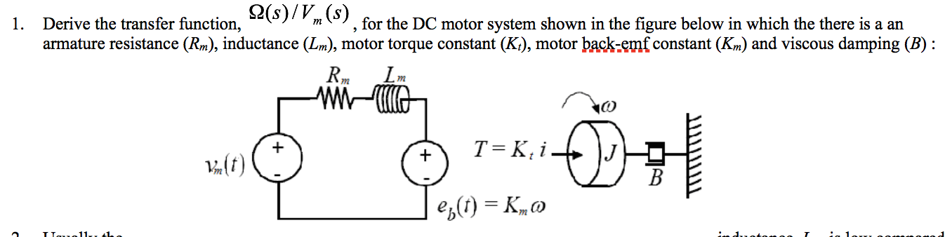(s)/V(s) Derive the transfer function, armature resistance (Rm), inductance (Lm), motor torque constant (K), motor back-emf constant (Km) and viscous damping (B) , for the DC motor system shown in the figure below in which the there is a an 1. m m m T = K, i 4(f) es() = K,