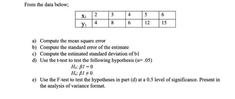 From the data below; 2 Х1 3 4 5 4 уг 8 6 12 15 a) Compute the mean square error b) Compute the standard error of the estimate c) Compute the estimated standard deviation of bl d) Use the t-test to test the following hypothesis (a .05) Ho B1 0 Ha: Bl 0 e) Use the F-test to test the hypotheses in part (d) at a 0.5 level of significance. Present in the analysis of variance format