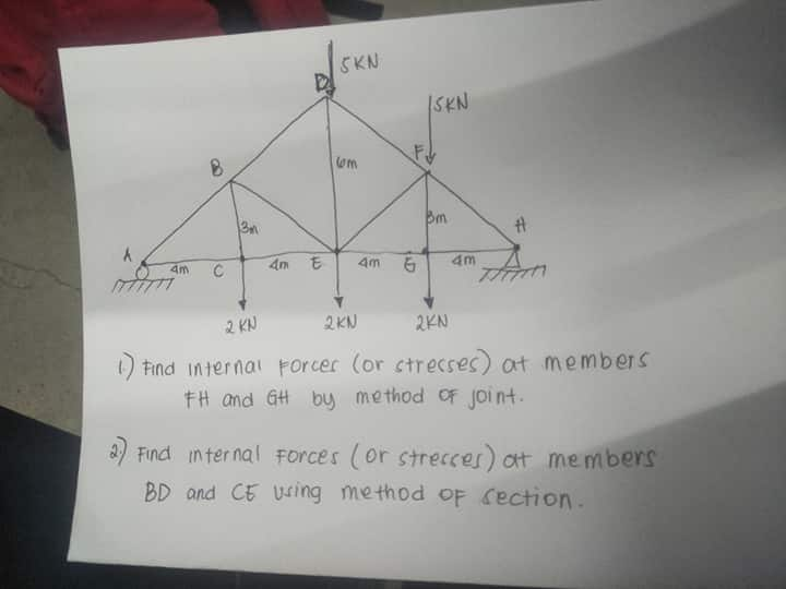 SKN SKN 4m 4m 4m 4m C 2KN 2 KN 2KN Find internai Forcer (or ctrecses) at members FH and GH buy method oF joi nt Find in ter nal Forces (or strecces) ot members BD and CE Using method oF Cection AD