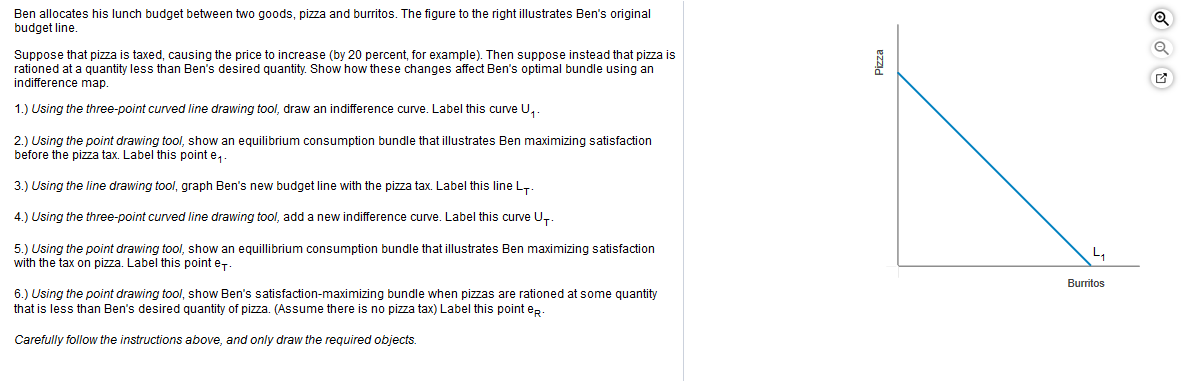 Ben allocates his lunch budget between two goods, pizza and burritos. The figure to the right illustrates Ben's original budget line. Suppose that pizza is taxed, causing the price to increase (by 20 percent, for example). Then suppose instead that pizza is rationed at a quantity less than Ben's desired quantity. Show how these changes affect Ben's optimal bundle using an indifference map. 1.) Using the three-point curved line drawing tool, draw an indifference curve. Label this curve U 2.) Using the point drawing tool, show an equilibrium consumption bundle that illustrates Ben maximizing satisfaction before the pizza tax. Label this point e 3.) Using the line drawing tool, graph Ben's new budget line with the pizza tax. Label this line LT 4.) Using the three-point curved line drawing tool, add a new indifference curve. Label this curve U 5.) Using the point drawing tool, show an equillibrium consumption bundle that illustrates Ben maximizing satisfaction with the tax on pizza. Label this point e L. Burritos 6.) Using the point drawing tool, show Ben's satisfaction-maximizing bundle when pizzas are rationed at some quantity that is less than Ben's desired quantity of pizza. (Assume there is no pizza tax) Label this point ep Carefully follow the instructions above, and only draw the required objects Pizza