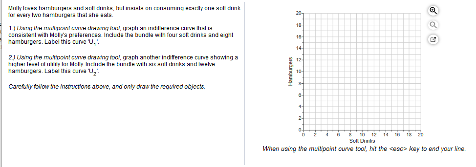 Molly loves hamburgers and soft drinks, but insists on consuming exactly one soft drink for every two hamburgers that she eats. 20- 18- 1.) Using the multipoint curve drawing tool, graph an indifference curve that is consistent with Molly's preferences. Include the bundle with four soft drinks and eight hamburgers. Label this curve 'U,'. 16- 14- 2) Using the multipoint curve drawing tool, graph another indifference curve showing a higher level of utility for Molly. Include the bundle with six soft drinks and twelve hamburgers. Label this curve 'U,' 12- 10- 8- I Carefully follow the instructions above, and only draw the required objects. 6- 4. 2- 0- 10 12 16 18 20 Soft Drinks When using the multipoint curve tool, hit the <esc> key to end your line. Hamburgers