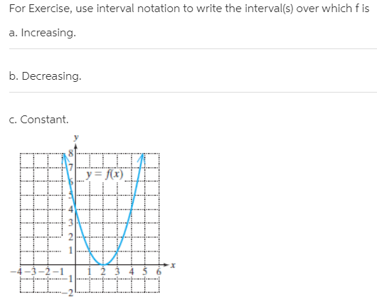 For Exercise, use interval notation to write the interval(s) over which f is a. Increasing. b. Decreasing. c. Constant. DI y= f(x). X. 3-2-1