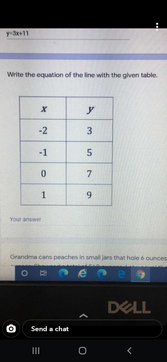 """""""Vrite the equation of the line with the given table. y -2 -1 7 9. Your answer Grandma cans peaches in small jars that hole 6 ounces 3. 1."""