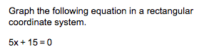 Graph the following equation in a rectangular coordinate system 5x 15 0