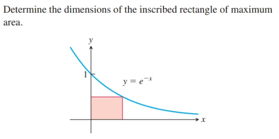 Determine the dimensions of the inscribed rectangle of maximum area. y = e¯*