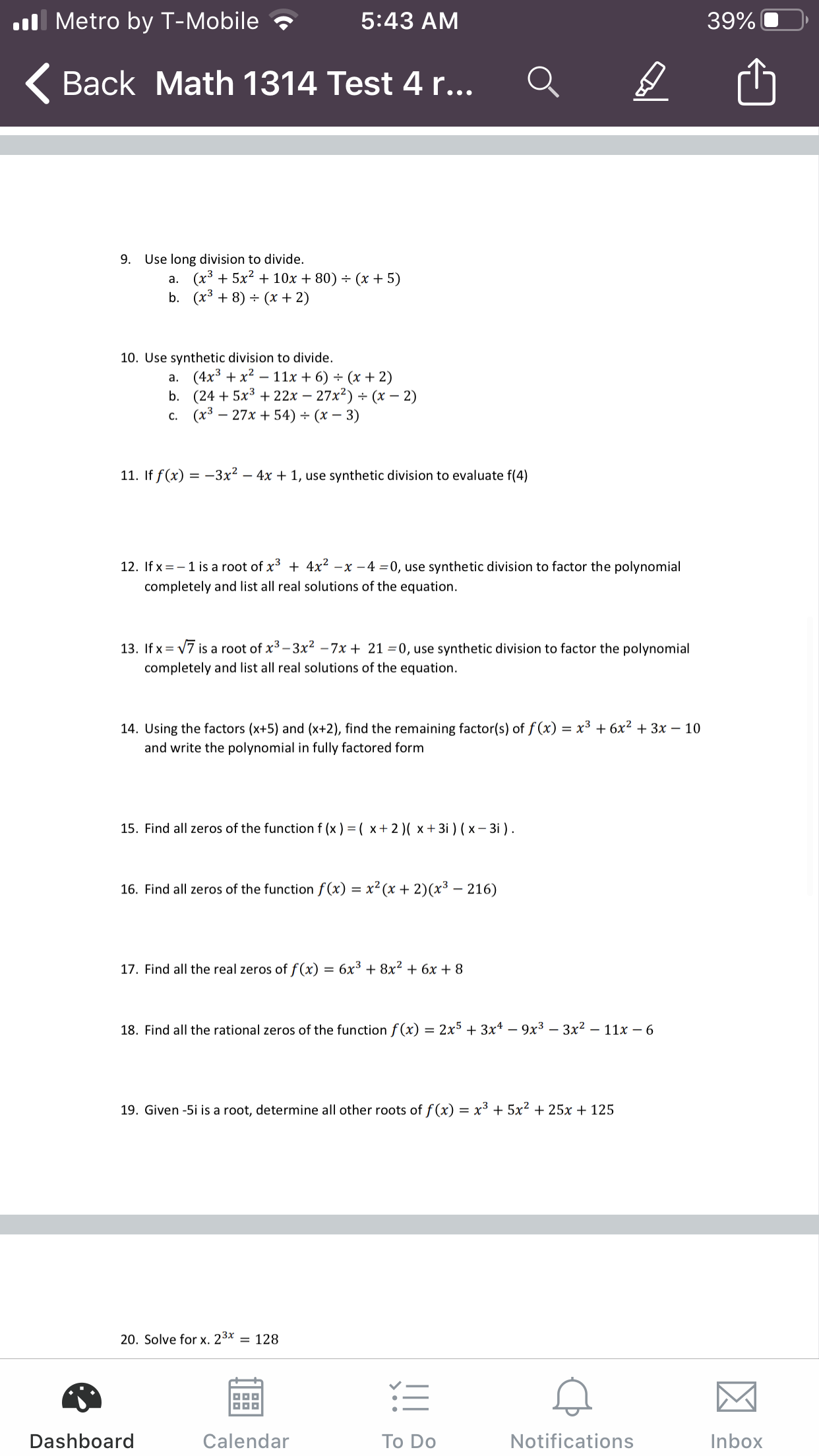 Answered: Metro By T-Mobile 5:42 AM 39% ( Back…   Bartleby