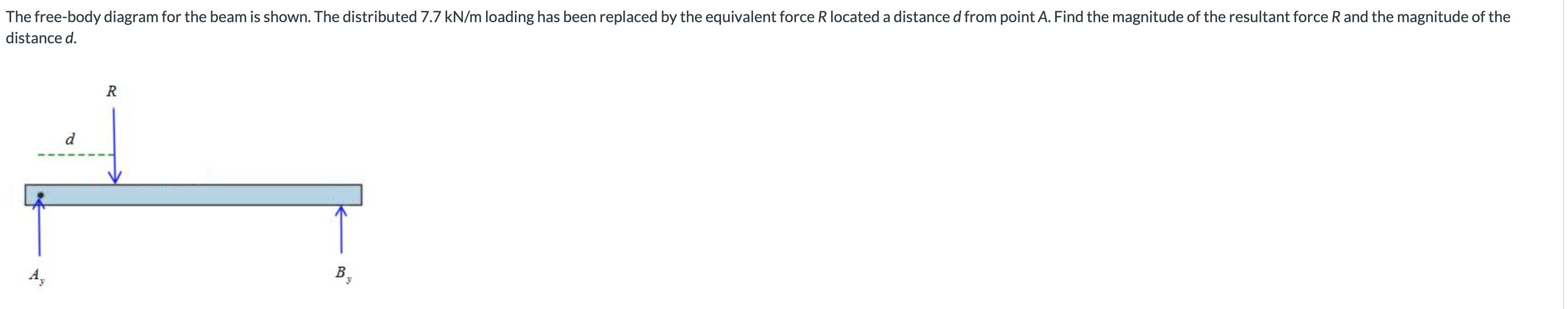The free-body diagram for the beam is shown. The distributed 7.7 kN/m loading has been replaced by the equivalent force R located a distance d from point A. Find the magnitude of the resultant force R and the magnitude of the distance d R d В,