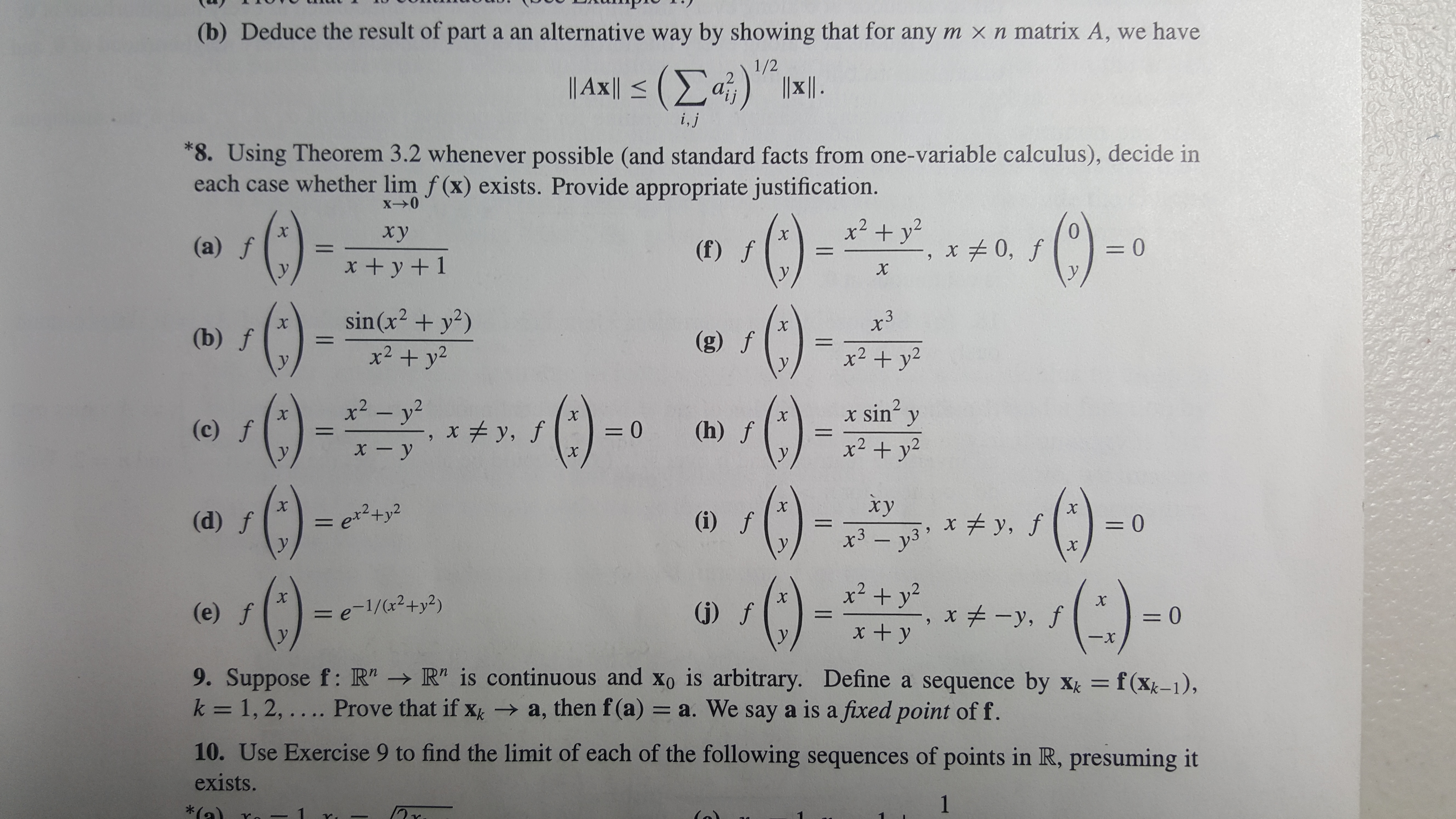 """(b) Deduce the result of part a an alternative way by showing that for any m xn matrix A, we have 1/2 