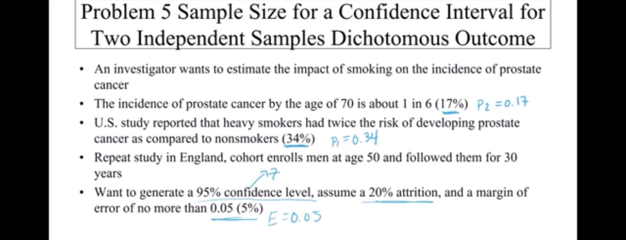 Problem 5 Sample Size for a Confidence Interval for Two Independent Samples Dichotomous Outcome An investigator wants to estimate the impact of smoking on the incidence of prostate cancer The incidence of prostate cancer by the age of 70 is about 1 in 6 (17%) Pz =0. 1 U.S. study reported that heavy smokers had twice the risk of developing prostate cancer as compared to nonsmokers (34%) P6.34 Repeat study in England, cohort enrolls men at age 50 and followed them for 30 years Want to generate a 95% confidence level, assume a 20% attrition, and a margin of error of no more than 0.05 (5%) EFO.0S
