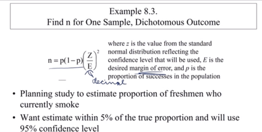 Example 8.3 Find n for One Sample, Dichotomous Outcome where z is the value from the standard normal distribution reflecting the confidence level that will be used, E is the n = p(1-p E desired margin of error, and p is the proportion of successes in the population dacinss Planning study to estimate proportion of freshmen who currently smoke Want estimate within 5% of the true proportion and will use 95% confidence level