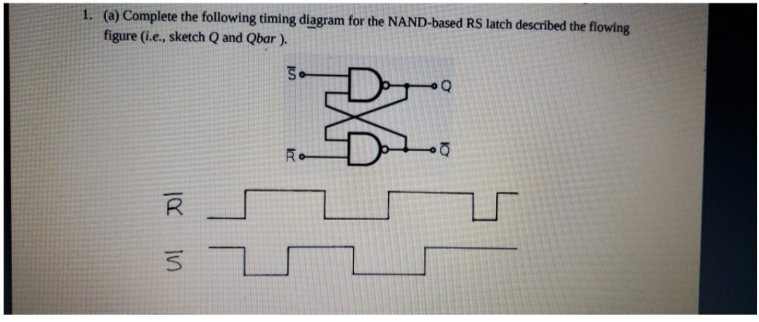 1. (a) Complete the following timing diagram for the NAND-based RS latch described the flowing figure (i.e., sketch Q and Qbar). R