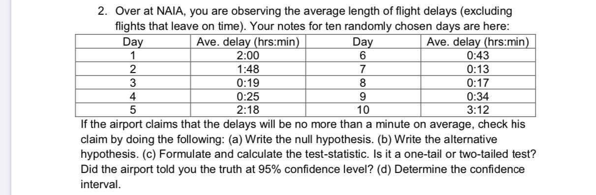 2. Over at NAIA, you are observing the average length of flight delays (excluding flights that leave on time). Your notes for ten randomly chosen days are here: Ave. delay (hrs:min) 0:43 0:13 0:17 Day Ave. delay (hrs:min) Day 2:00 1:48 0:19 8 4 0:25 0:34 5 2:18 10 3:12 If the airport claims that the delays will be no more than a minute on average, check his claim by doing the following: (a) Write the null hypothesis. (b) Write the alternative hypothesis. (c) Formulate and calculate the test-statistic. Is it a one-tail or two-tailed test? Did the airport told you the truth at 95% confidence level? (d) Determine the confidence interval.