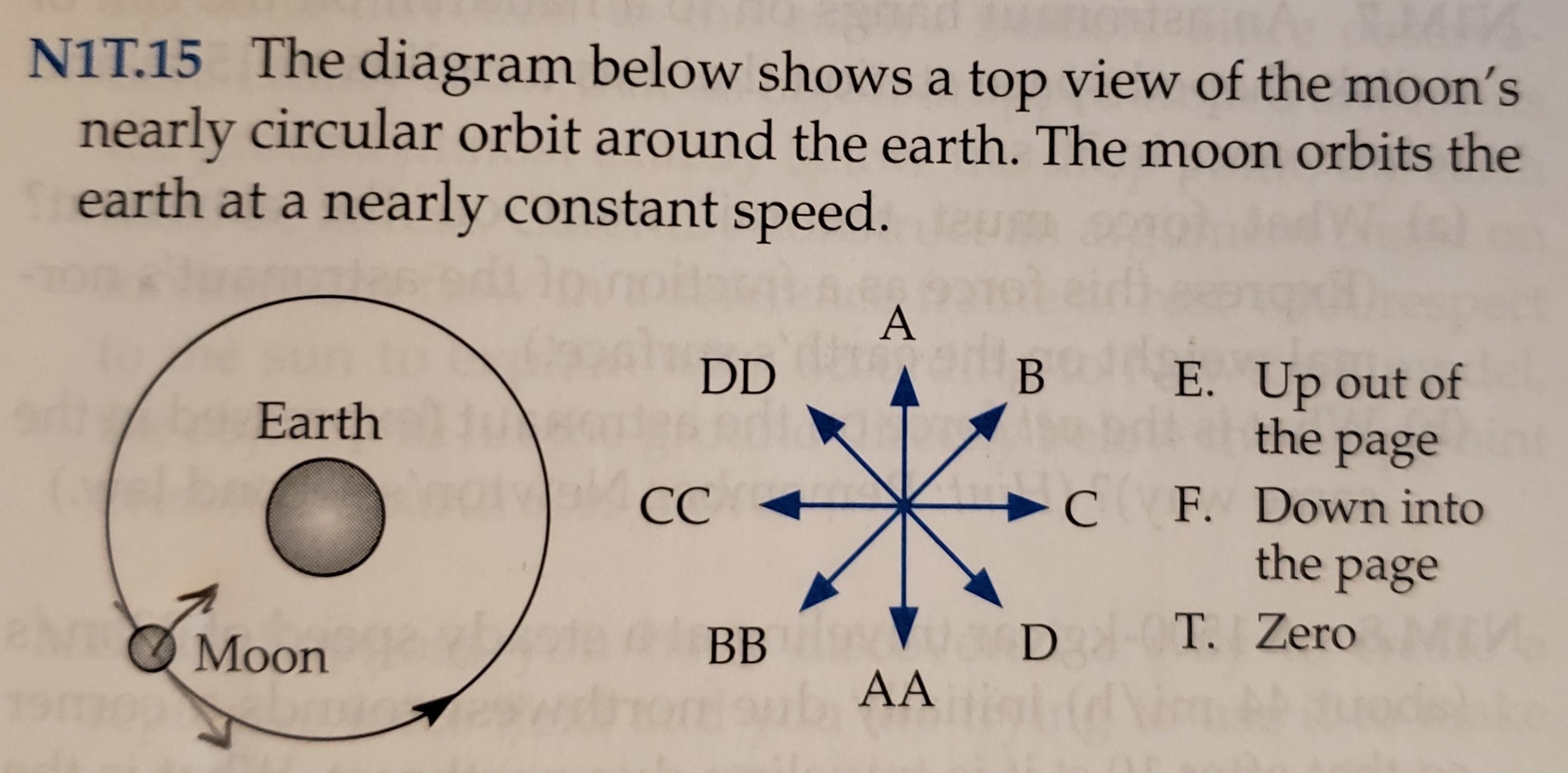 NIT.15 The diagram below shows a top view of the moon's nearly circular orbit around the earth. The moon orbits the earth at a nearly constant speed. A DD В E. Up out of the Earth page C F. Down into the page ba notoelCC aN T. Zero D ВB Moon AA