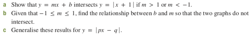 a Show that y = mx + b intersects y = |x + 1| if m > 1 or m < -1. b Given that -1 < m < 1, find the relationship between b and m so that the two graphs do not intersect. c Generalise these results for y = |px – q|.