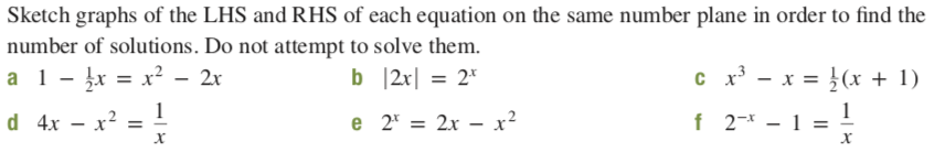 Sketch graphs of the LHS and RHS of each equation on the same number plane in order to find the number of solutions. Do not attempt to solve them. c x - x = }(x + 1) a 1- įx = x² - 2x b 2x  = 2* d 4x – x? = ! - x² f 2-* - 1 e 2* = 2x – x²
