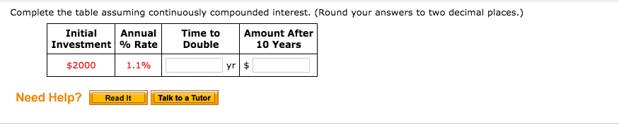 Complete the table assuming continuously compounded interest. (Round your answers to two decimal places.) Initial Amount After 10 Years Annual Investment % Rate Time to Double 1.1% yr $ $2000 Need Help? Read It Talk to a Tutor