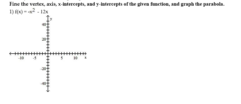 Fine the vertex, axis, x-intercepts, and y-intercepts of the given function, and graph the parabola 1) f(x) -x2 -12x 40-T 20. -10 -5 10 -40
