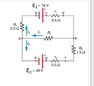 E1 = 18 V 0.5 2 R. 2.5 2 R, 1.5 2 0.5 2 E2 = 45 V
