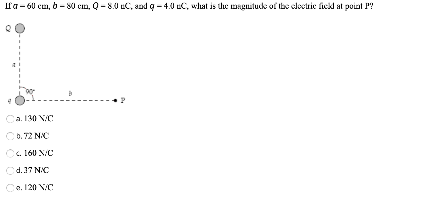 If a = 60 cm, b = 80 cm, Q = 8.0 nC, and q = 4.0 nC, what is the magnitude of the electric field at point P? •P