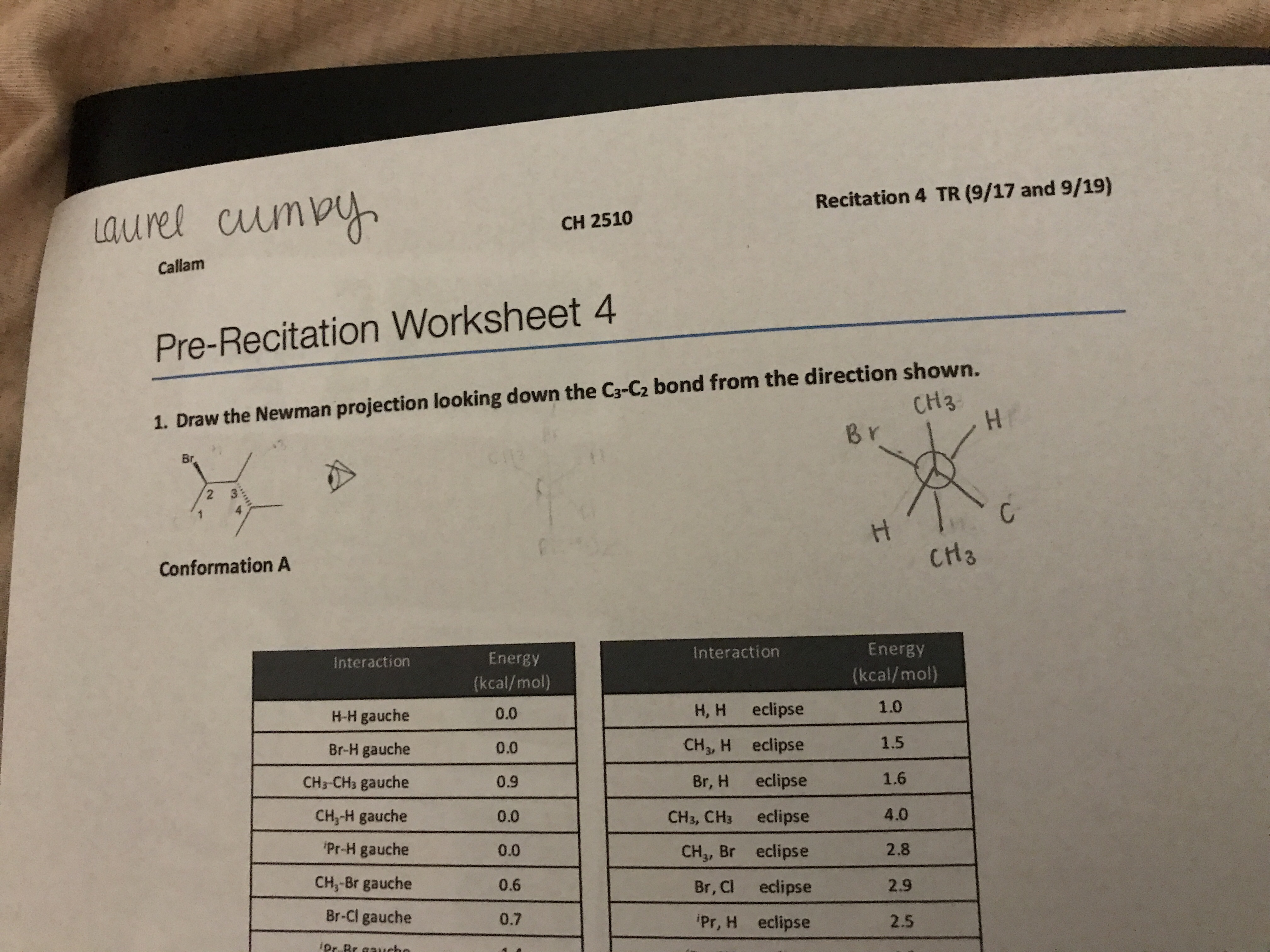 Recitation 4 TR (9/17 and 9/19) aurel cumpy CH 2510 Callam Pre-Recitation Worksheet 4 1. Draw the Newman projection looking down the C3-Cz bond from the direction shown. HH CH3 Br Br 2 CH3 Conformation A Energy Interaction Energy Interaction (kcal/mol) (kcal/mol) 1.0 Н, н eclipse 0.0 H-H gauche 1.5 CH3, H eclipse Br-H gauche 0.0 1.6 eclipse CH3-CH3 gauche Br, H 0.9 4.0 CH,-H gauche eclipse 0.0 CH3, CH3 Pr-H gauche 2.8 0.0 CH3, Br eclipse CH,-Br gauche 0.6 2.9 Br, Cl eclipse Br-Cl gauche 0.7 Pr, H eclipse 2.5 iDr Br aaueho I