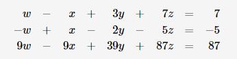 3y 7z 7 2y 9 30y + 52 -5 9w 87z 87