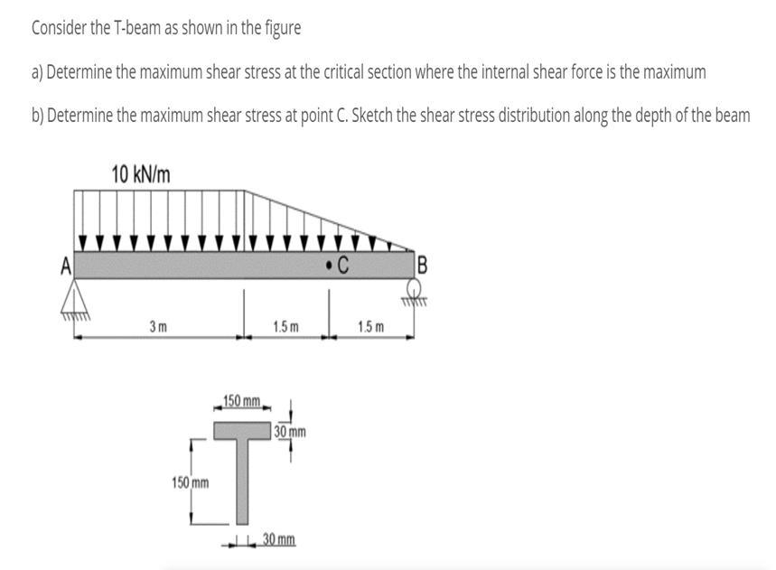 Consider the T-beam as shown in the figure a) Determine the maximum shear stress at the critical section where the internal shear force is the maximum b) Determine the maximum shear stress at point C. Sketch the shear stress distribution along the depth of the beam 10 kN/m IR