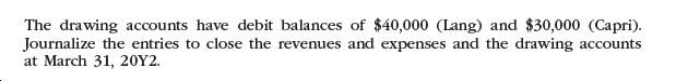 The drawing accounts have debit balances of $40,000 (Lang) and $30,000 (Capri). Journalize the entries to close the revenues and expenses and the drawing accounts at March 31, 20Y2.