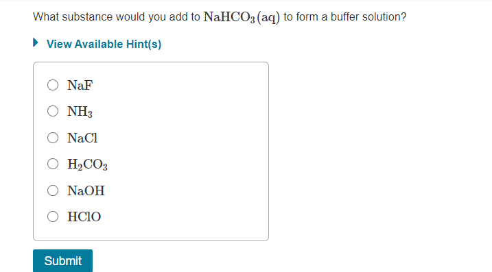 Answered: What substance would you add to NaHCO3… | bartleby
