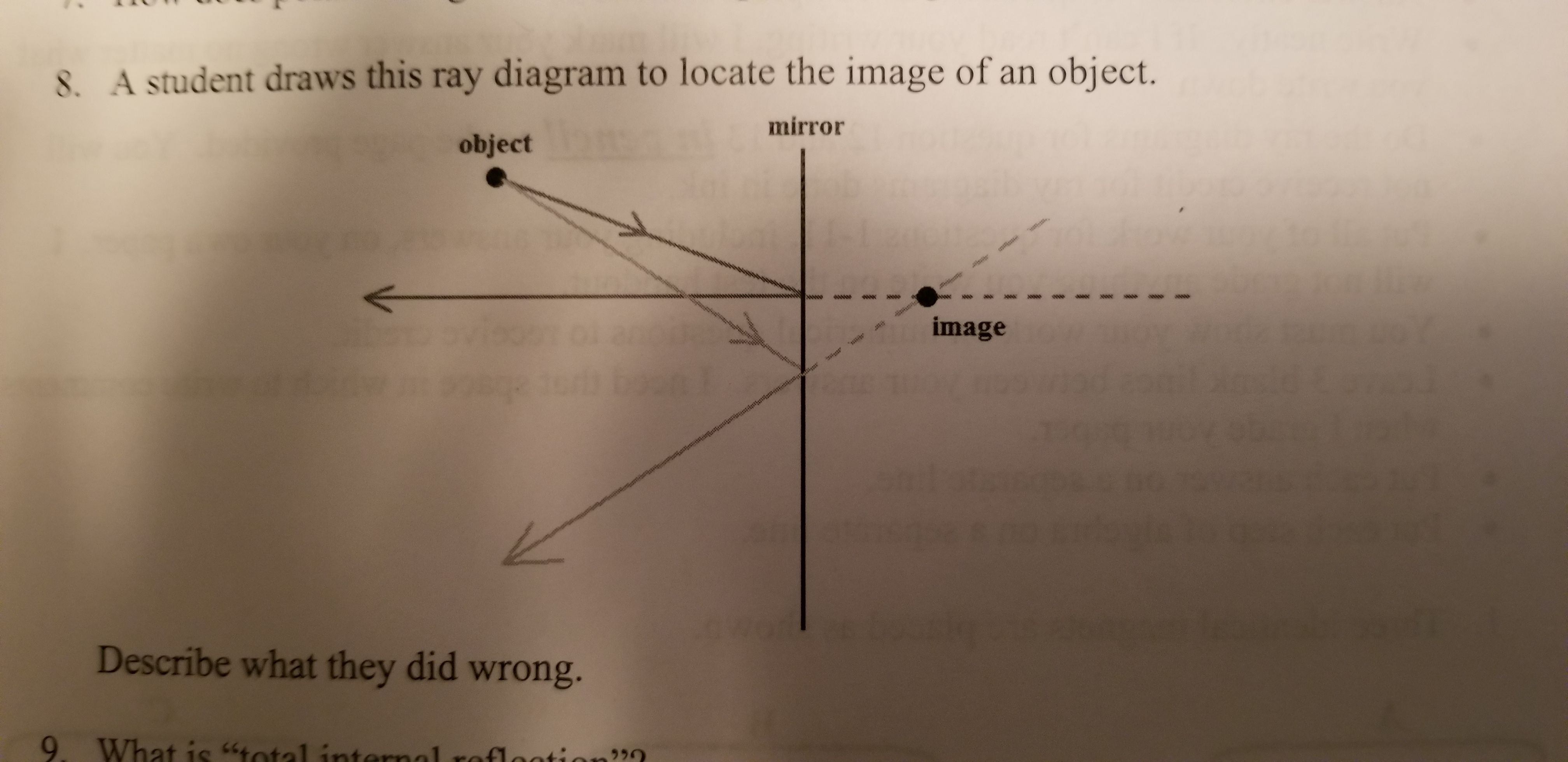 8. A student draws this ray diagram to locate the image of an object. mirror object image Describe what they did wrong. 9. What is