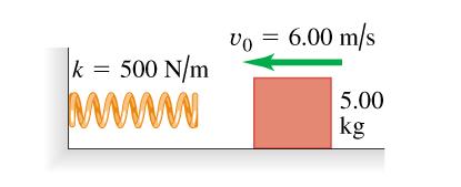 vo 6.00 m/s k = 500 N/m 5.00 kg