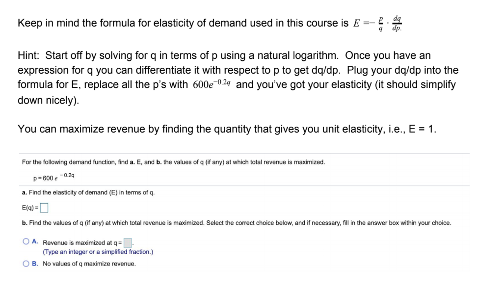 Answered Keep In Mind The Formula For Elasticity Bartleby