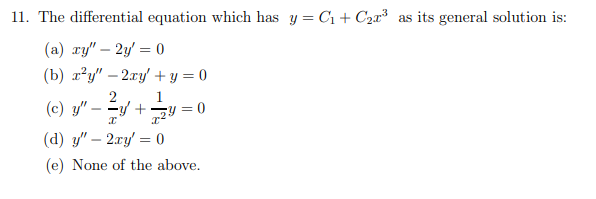 Answered: The Differential Equation Which Has Y=… | Bartleby