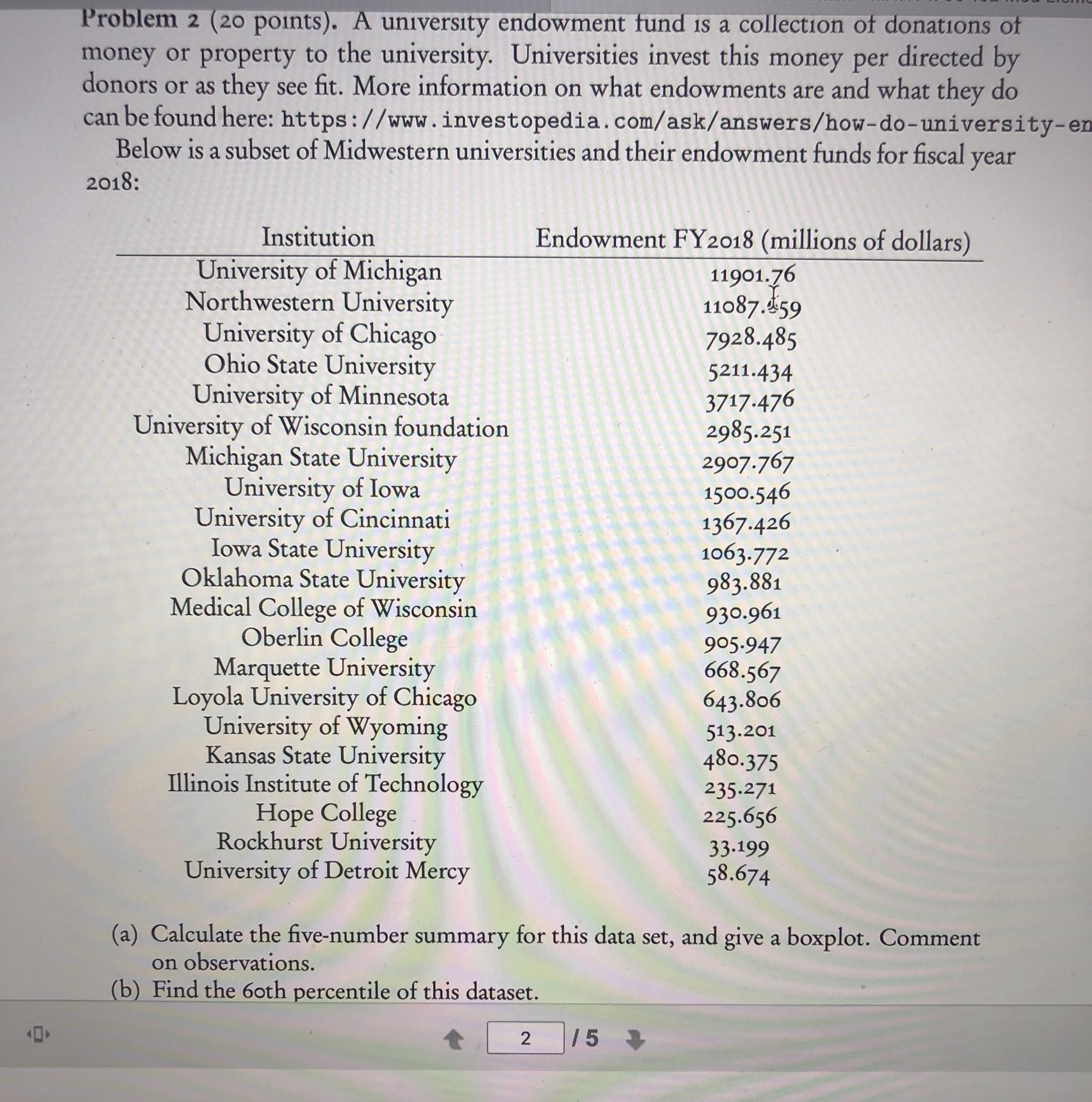 Problem 2 (20 points). A university endowment fund is a collection of donations of money or property to the university. Universities invest this money per directed by donors or as they see fit. More information on what endowments are and what they do can be found here: https://www.investopedia.com/ask/answers/how-do-university-en Below is a subset of Midwestern universities and their endowment funds for fiscal year 2018: Endowment FY2018 (millions of dollars) Institution University of Michigan Northwestern University University of Chicago Ohio State University University of Minnesota University of Wisconsin foundation Michigan State University University of Iowa University of Cincinnati Iowa State University Oklahoma State University Medical College of Wisconsin Oberlin College Marquette University Loyola University of Chicago University of Wyoming Kansas State University Illinois Institute of Technology Hope College Rockhurst University University of Detroit Mercy 11901.76 11087.459 7928.485 5211.434 3717.476 2985.251 2907.767 1500.546 1367.426 1063.772 983.881 930.961 905.947 668.567 643.806 513.201 480.375 235.271 225.656 33.199 58.674 (a) Calculate the five-number summary for this data set, and give a boxplot. Comment on observations. (b) Find the 6oth percentile of this dataset. /5
