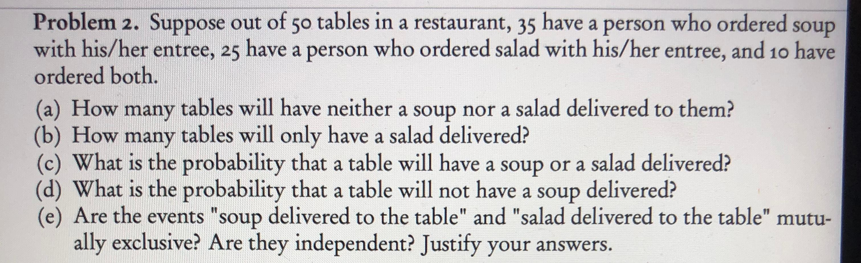 "Problem 2. Suppose out of 50 tables in a restaurant, 35 have a person who ordered with his/her entree, 25 have a person who ordered salad with his/her entree, and 10 have ordered both. soup (a) How many tables will have neither a soup nor a salad delivered to them? (b) How many tables will only have a salad delivered? (c) What is the probability that a table will have a soup or a salad delivered? (d) What is the probability that a table will not have a soup delivered? (e) Are the events ""soup delivered to the table"" and ""salad delivered to the table"" mutu- ally exclusive? Are they independent? Justify your answers."