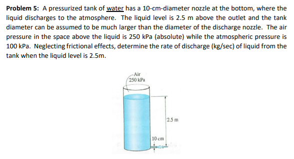 Problem 5: A pressurized tank of water has a 10-cm-diameter nozzle at the bottom, where the liquid discharges to the atmosphere. The liquid level is 2.5 m above the outlet and the tank diameter can be assumed to be much larger than the diameter of the discharge nozzle. The air pressure in the space above the liquid is 250 kPa (absolute) while the atmospheric pressure is 100 kPa. Neglecting frictional effects, determine the rate of discharge (kg/sec) of liquid from the tank when the liquid level is 2.5m. Air 250 kPa 25 m 10 cm