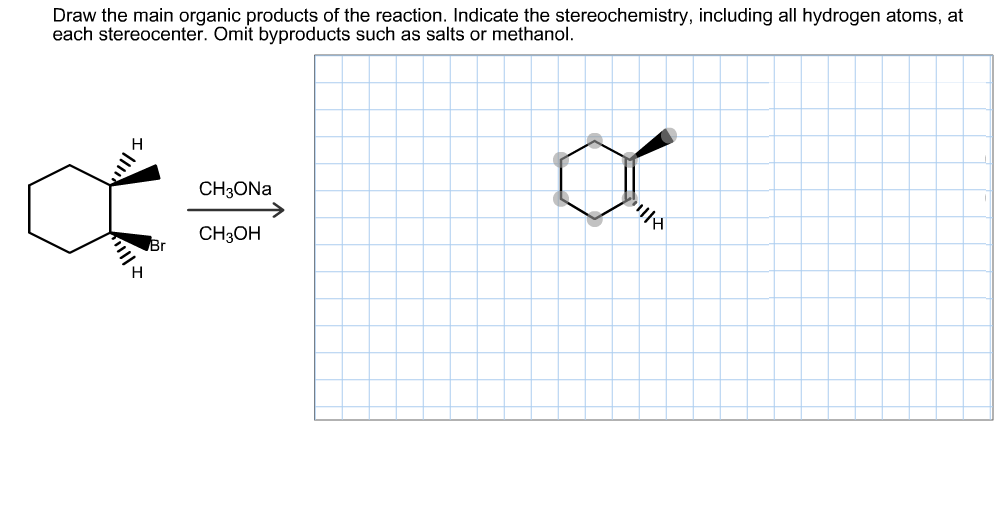 Draw the main organic products of the reaction. Indicate the stereochemistry, including all hydrogen atoms, at each stereocenter. Omit byproducts such as salts or methanol. CH3ONA CH3ОН Br