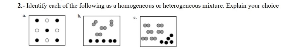 2.- Identify each of the following as a homogeneous or heterogeneous mixture. Explain your choice a