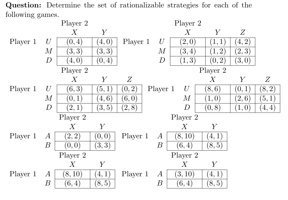 Question: Determine the set of rationalizable strategies for each of the following games. Player 2 Player 2 (0, 4) (3, 3) (4, 0) Player 2 (2,0) (3, 4) (1,3) (4, 2) (2, 3) (4,0) (3, 3) (0, 4) (1,1) Player 1 Player 1 (1,2) (0,2) | (3,0) Player 2 D D (5, 1) | (0, 2) | Player 1 (4, 6) (3, 5) (6, 3) (0, 1) (2,1) Player 2 (8, 6) (1,0) (0,8) (8, 2) (0, 1) (2, 6) (5, 1) (4, 4) (1,0) Player 1 (6,0) (2,8) D D Player 2 (8, 10) (6, 4) (2, 2) (0,0) (0,0) (3,3) (4, 1) (8, 5) Player 1 Player 1 B B Player 2 Player 2 (8, 10) (6, 4) (3, 10) (6, 4) (4, 1) (8, 5) (4, 1) (8, 5) Player 1 A Player 1 B B