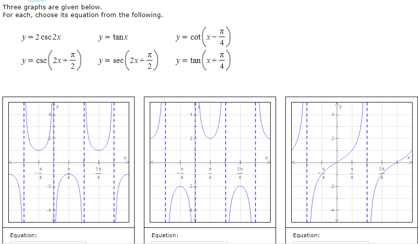 Three graphs are given below. For each, choose its equation from the following. y = 2 csc 2x y = tanx y = cot x- y= csc 2x+ y= sec 2x+. y = tan x+- 2- %3D 4 %3D -2+ -2- 1.