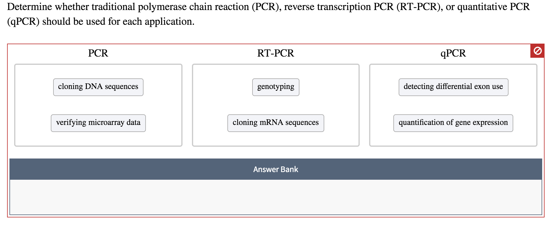 Determine whether traditional polymerase chain reaction (PCR), reverse transcription PCR (RT-PCR), or quantitative PCR (qPCR) should be used for each application PCR RT-PCR ДРCR cloning DNA sequences detecting differential exon use genotyping cloning MRNA sequences verifying microarray data quantification of gene expression Answer Bank о