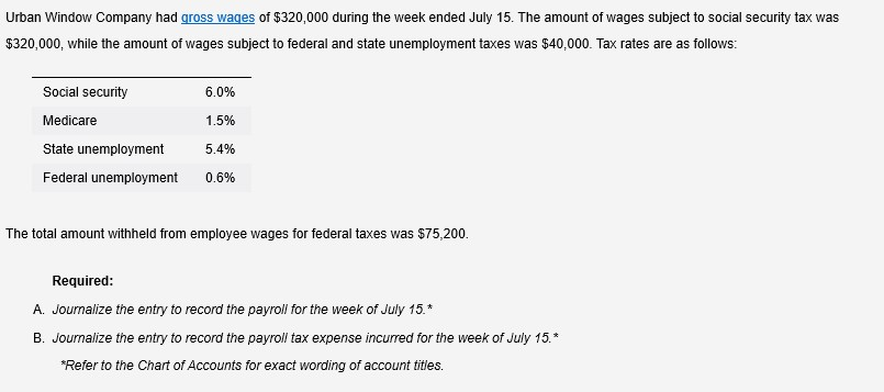 Urban Window Company had gross wages of $320,000 during the week ended July 15. The amount of wages subject to social security tax was $320,000, while the amount of wages subject to federal and state unemployment taxes was $40,000. Tax rates are as follows: Social security 6.0% Medicare 1.5% State unemployment 5.4% Federal unemployment 0.6% The total amount withheld from employee wages for federal taxes was $75,200. Required: A. Journalize the entry to record the payroll for the week of July 15.* B. Journalize the entry to record the payroll tax expense incurred for the week of July 15.* *Refer to the Chart of Accounts for exact wording of account titles.