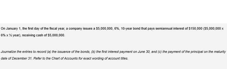 On January 1, the first day of the fiscal year, a company issues a $5,000,000, 6%, 10-year bond that pays semiannual interest of $150,000 ($5,000,000 x 6% x % year), receiving cash of $5,000,000. Journalize the entries to record (a) the issuance of the bonds, (b) the first interest payment on June 30, and (c) the payment of the principal on the maturity date of December 31. Refer to the Chart of Accounts for exact wording of account titles.