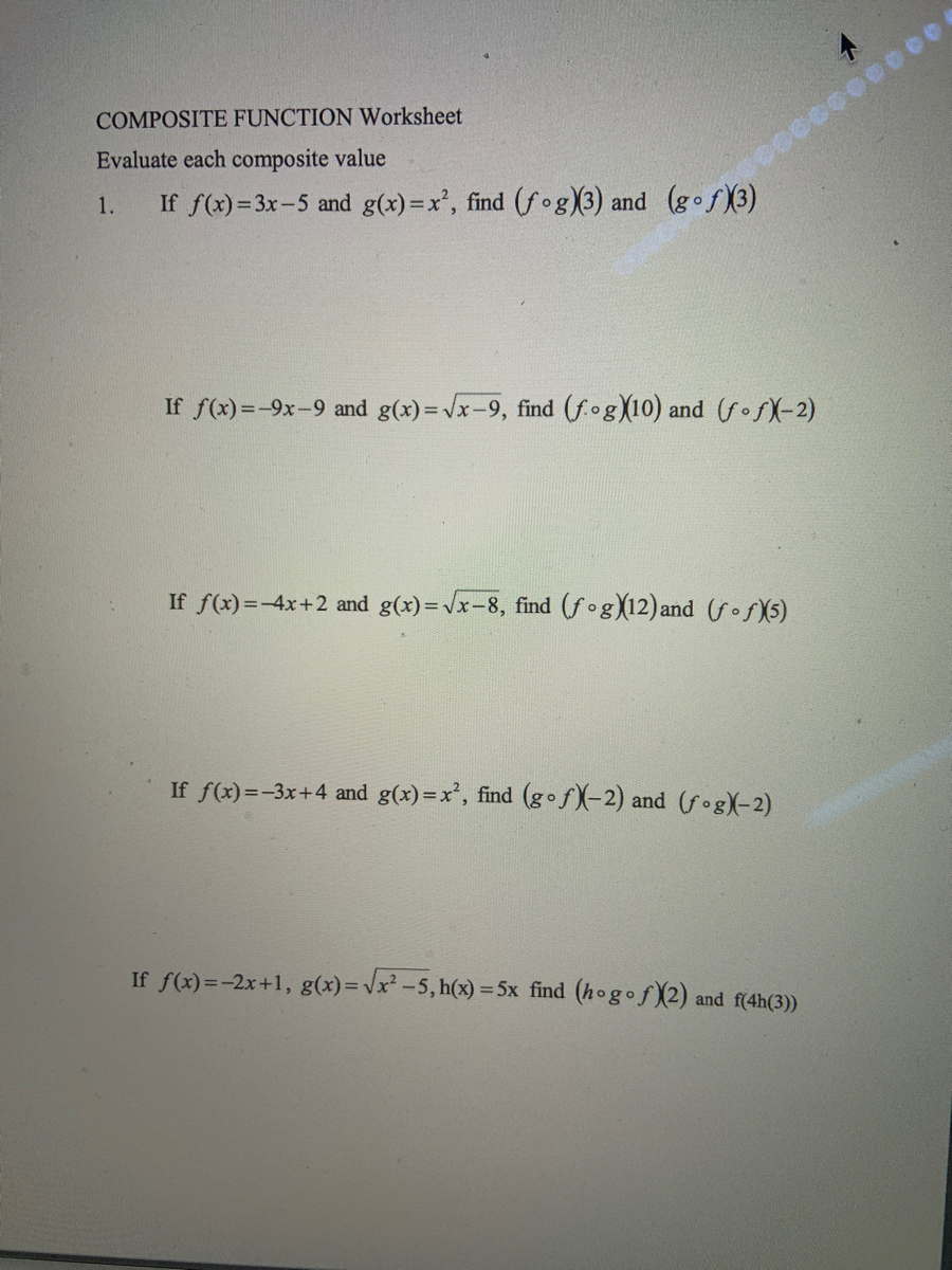 Answered: COMPOSITE FUNCTION Worksheet Evaluate  bartleby For Composite Function Worksheet Answers