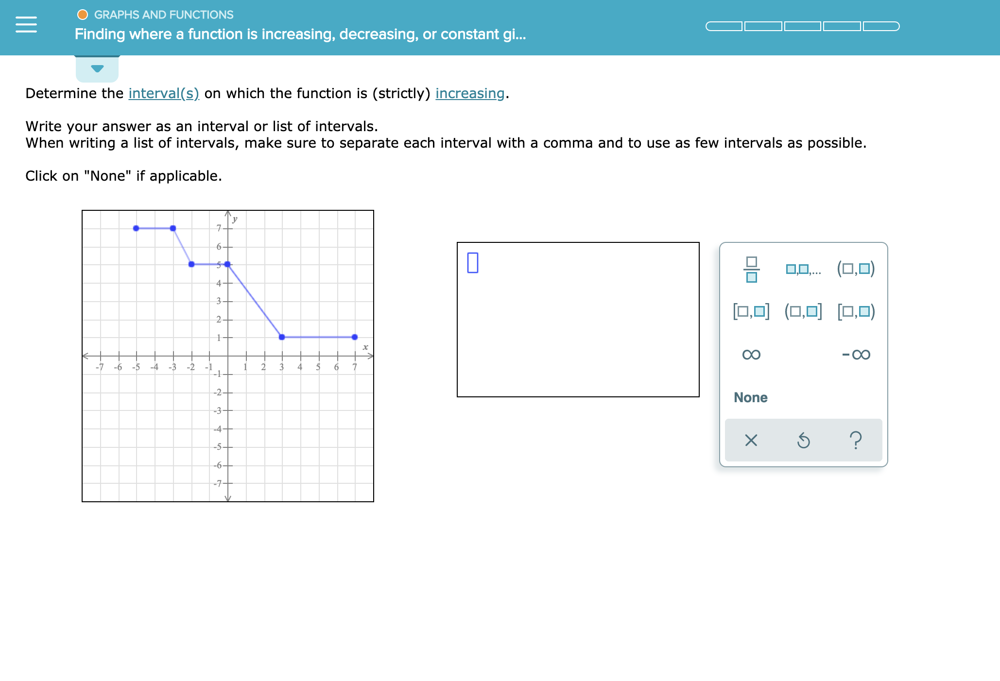 """O GRAPHS AND FUNCTIONS Finding where a function is increasing, decreasing, or constant gi.. Determine the interval(s) on which the function is (strictly) increasing. Write your answer as an interval or list of intervals. When writing a list of intervals, make sure to separate each interval with a comma and to use as few intervals as possible. Click on """"None"""" if applicable. 6- (O,O .. 4- 3+ .O(OO,0) 2+ 1 -7 -6 -5 -4 -3 2 1 2 3 4 6 -1 --2+ None -3 4 ? X -5 --6+ -7"""