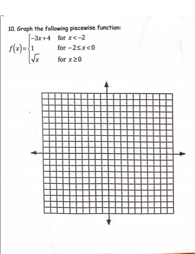 10. Graph the following piecewise function: -3x+4 for x<-2 f(x)={1 for -2sx<0 for x20