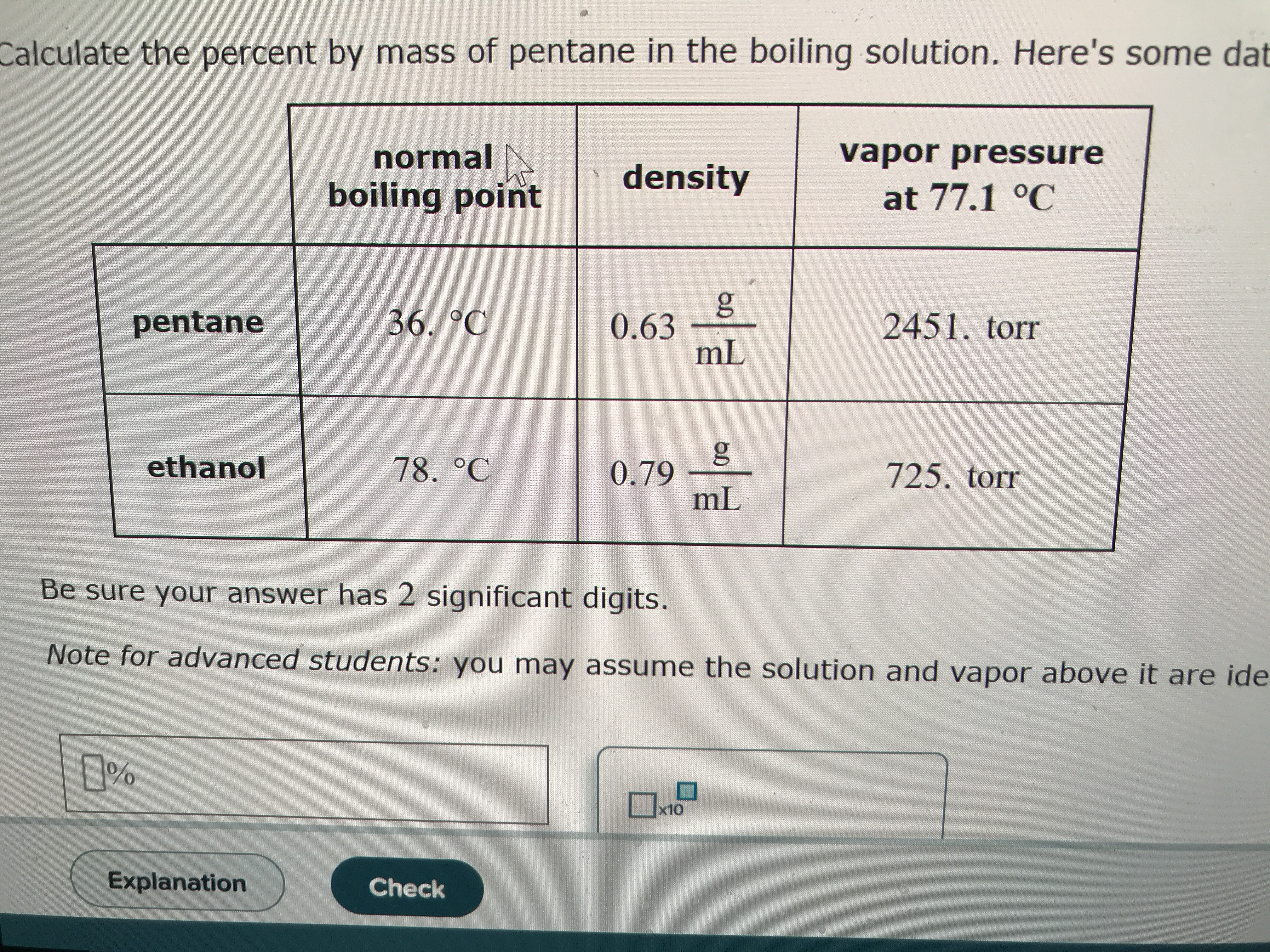 Calculate the percent by mass of pentane in the boiling solution. Here's some dat vapor pressure normal density boiling point at 77.1 °C g 0.63 mL 36. °C pentane 2451. torr ethanol 78. °C 0.79 mL 725. torr Be sure your answer has 2 significant digits. Note for advanced students: you may assume the solution and vapor above it are ide x10 Explanation Check