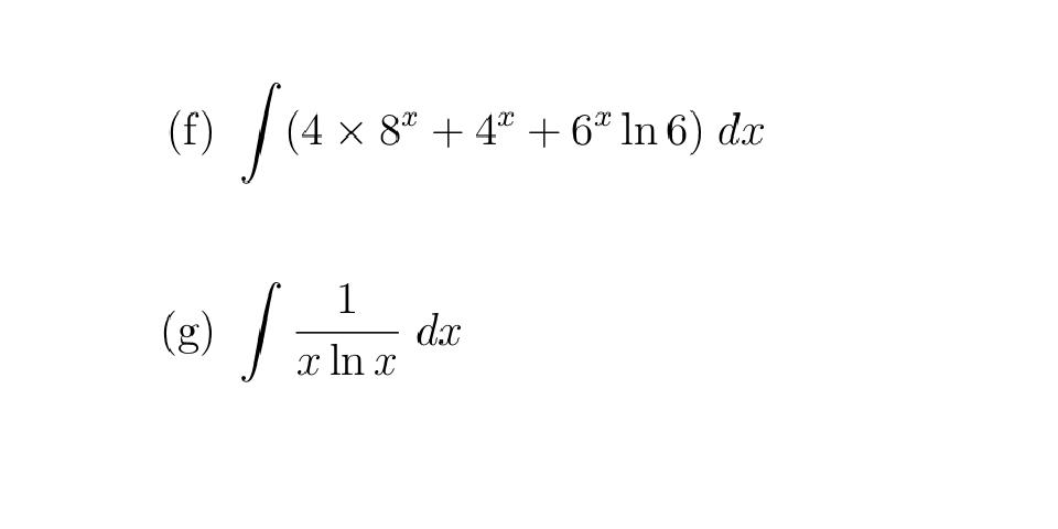 (4 x 8ª + 4ª + 6* ln 6) dx