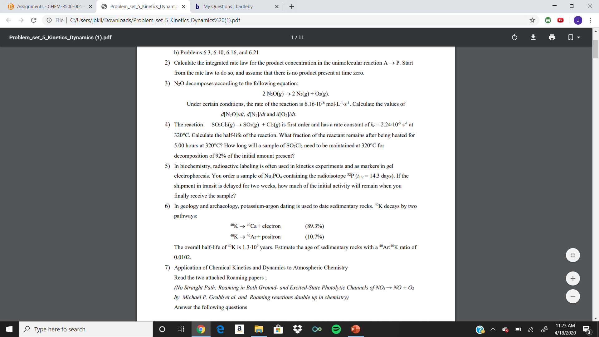 """B Assignments - CHEM-3500-001 O Problem_set_5_Kinetics_Dynamic: X b My Questions 