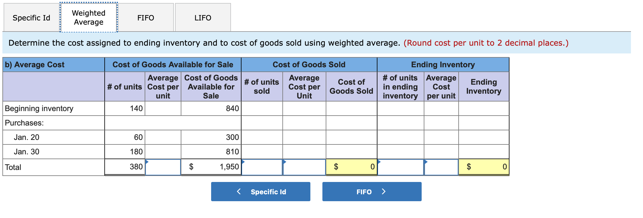 Weighted Average Specific Id FIFO LIFO Determine the cost assigned to ending inventory and to cost of goods sold using weighted average. (Round cost per unit to 2 decimal places.) b) Average Cost Cost of Goods Available for Sale Cost of Goods Sold Ending Inventory Average Cost of Goods |# of units # of units Average in ending inventory per unit Average Cost per Unit Ending Inventory Cost of # of units Cost per unit Available for Cost sold Goods Sold Sale Beginning inventory 140 840 Purchases: Jan. 20 60 300 Jan. 30 180 810 $ $ $ Total 380 1,950 Specific Id FIFO EA