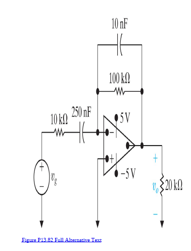 10 nF 100 k. 250 nF 10 k. 5V -5V $20 kM Eigure P13.82 Full Alternative Text